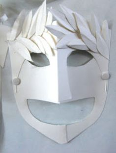 Greek comedy and tragedy masks using simple white card. Gr.7