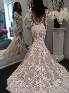 mermaid long sleeves wedding gowns with appliques court train, fashion wedding dress. #weddinggowns
