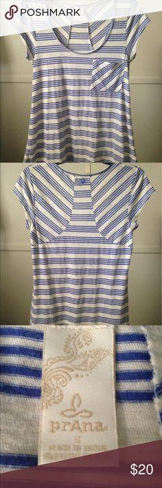 Prana Top, Size Small,  Blue/Cream Prana Top, Size Small,  Blue/Cream, Excellent Condition Prana Tops Tees - Short Sleeve