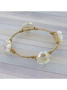 Handcrafted Iridescent Crystal Bead and Goldtone Wire Bangle #wiredbangle #baubles #designerinspired #baublesandbangles #wiredbracelet