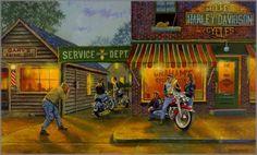 "Ilustración de Dave Barnhouse titulada ""Picture Perfect"". Ver más artistas de temática biker en http://desguaceweb.com/category/cultura/pintura"