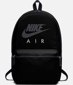 Front view of Nike Air Backpack in Black/White Nike School Backpacks, Cute Backpacks For School, Cute Mini Backpacks, Trendy Backpacks, Backpack Outfit, Black Backpack, Backpack Bags, Fashion Backpack, Mochila Kate Spade