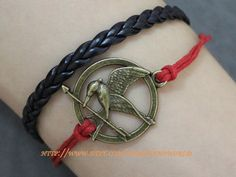 Jewelry bracelet THE HUNGER GAMES bracelet,birds bracelet,red rope bracelet bang cuff  bracelet.