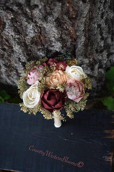 Mini Bouquet Burgundy Dusty Pink Bouquet Rustic Bouquet