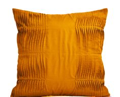 Mustard Honey Pillow Cover In Pleated Cotton Silk For Textured Warm Look