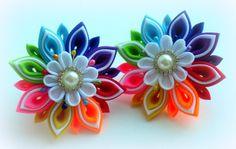 Odnoklassniki Cloth Flowers, Flowers In Hair, Fabric Flowers, Diy Hair Bows, Diy Bow, Ribbon Crafts, Flower Crafts, Kanzashi Flowers, Resin Flowers