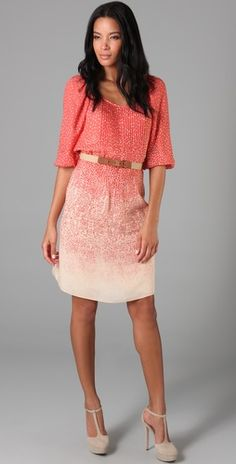 Bridal Shower/Bridesmaid Brunches dress, ombre fashion pink peach coral colorful outfit, color gradation style
