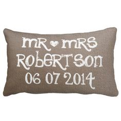 Shop Vintage Mr and Mrs burlap lumbar wedding pillow created by backgroundpatterns. Custom Pillows, Decorative Throw Pillows, Burlap Wedding Decorations, Mr And Mrs Wedding, Wedding Pillows, Cute Wedding Ideas, Designer Pillow, Vintage Pillows, Newlyweds