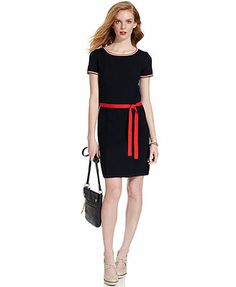 My sister and I had matching dresses just like this when we were little. Tommy Hilfiger Short-Sleeve Contrast-Trim Belted Sweaterdress