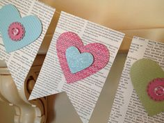 Valentine (or any holiday/theme) Flag Banner: 6 flags per sheet of Edition DSP by Kathleen Innes @ Stamp Journey Crafts To Make, Fun Crafts, Arts And Crafts, Paper Crafts, Flag Banners, Bunting Banner, Heart Banner, Banner Ideas, Valentines Day Decorations