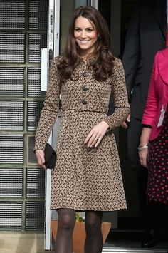 Kate Middleton looks sophisticated and chic in this birdie coat dress by Orla Kiely!