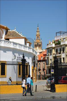 Entrance of the La Plaza de Toros de la Real Maestranza de Caballería de Sevilla, wif La Giralda in de background in EI Arenal, Seville, Andalucía_ Spain