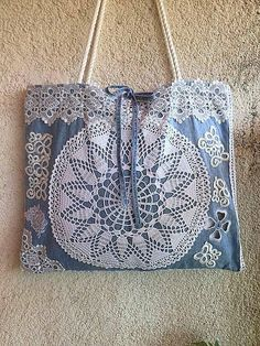 Boho bag Beach bag Bohemian purse Crochet bag Vintage lace