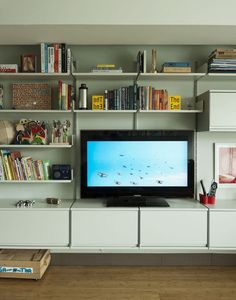 Book shelves frame the tv