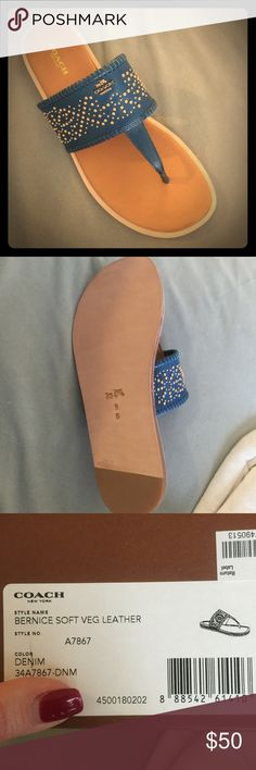 Denim Coach Sandals!! Coach. Dark Teal color called Denim. Gold Embellishments.  Never worn. The box says 10 but the shoes are a 9 (see picture)! Extremely comfortable!! Coach Shoes Sandals