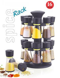 Jars & Container Useful Spice Rack With 16 Pieces Material: Plastic & Stainless Stell Description: It Has 1 Piece Of Spice Rack With 16 Pieces Country of Origin: India Sizes Available: Free Size *Proof of Safe Delivery! Click to know on Safety Standards of Delivery Partners- https://ltl.sh/y_nZrAV3  Catalog Rating: ★3.9 (5444)  Catalog Name: Useful Assorted Home & Kitchen Utilities Vol 5 CatalogID_78534 C130-SC1639 Code: 674-694778-