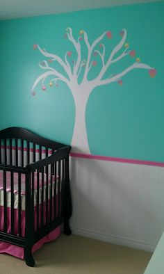Painted cupcake tree on Baby Girl's nursery wall