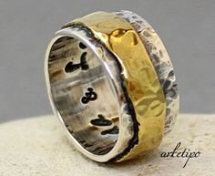 Personalized Ring of sterling silver and brass  by Arketipo