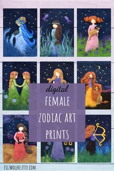 Female zodiac art prints for instant download. Lovely birthday gift for a loved one. #zodiacartprint #femalezodiacart #womanzodiacprints #zodiacgirlart #zodiacwallart #zodiacprintables #digitalzodiacart #womanstarsign #starsignart #starsignprints #zodiacprints #digitalwallart #walldecorprints #feltartprints #birthdaygiftwoman #birthdaygiftwife #birthdaygiftfriend #femalebirthdaygifts #astrologygifts #starsigngifts #zodiacgifts #birthdaygiftgirlfriend #zodiacnurseryart #astrologynurserydecor Zodiac Signs Aquarius, Zodiac Art, Zodiac Star Signs, Nursery Prints, Nursery Art, Astrological Symbols, Felt Pictures, Birthday Gifts For Girlfriend, Digital Wall