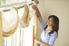 How to Drape Window Scarves over Valances for Vertical Blinds: A simple scarf can dress up utilitarian vertical blinds.