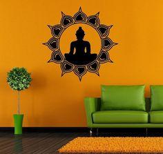 Wall Decor Vinyl Sticker Room Decal Art Yoga Buddha Sun God Symbol Faith Flower Meditation 997 on Etsy, $28.99