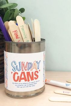 Make your own Sunday cans. Print this activity for your next family home evening. #HisDay #LDS