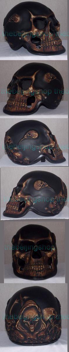 Bronze ghost rider Skull bone Skeleton Full Face Motorcycle Helmet