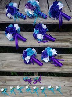 17 piece set Turquoise Blue Rose White Rose Purple rose Bridal Set by SilkFlowersByJean, $250.00
