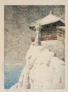 Kannon Temple at Abuto (Abuto no Kannon), from the series Selected Views of Japan (Nihon fûkei senshû)  日本風景選集 阿武兎の観音  Japanese, Taishô era, 1922 (Taishô 11)  Artist Kawase Hasui, Japanese, 1883–1957, Woodblock print; ink and color on paper, MFA