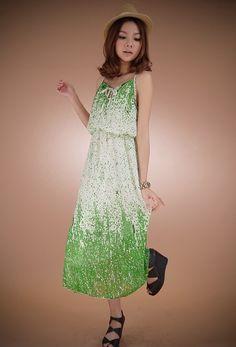 Fashionable Dazzle Sling Long Chiffon Dress Green