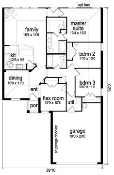 First Floor Plan of Narrow Lot   Traditional   House Plan 88648