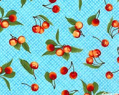 Fresh Cherries - Sweet Pickings by Jane Shasky for Robert Kaufman Fabrics. This has a very early 60s feel.