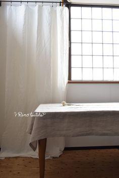 リノテキスタイルです。マルチクロス リノリサ ホワイト リネン100%   四方 三つ折り縫製をしております。 テーブルクロスや簡易なクリップを使って カーテン、間仕切りにもお使いいただけます。 #リネン #自然素材 #マルチクロス #麻 #リノテキスタイル