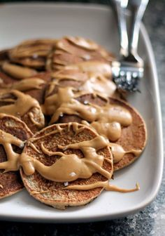 Cinnamon Applesauce Oatmeal Pancakes with Salted Peanut Butter Maple Syrup