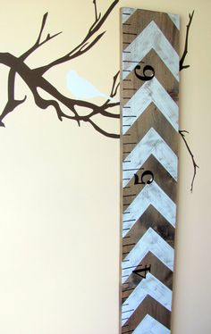 Rustic Wooden Growth Ruler - Distressed White Chevron Pattern on Etsy, $55.00