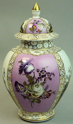 2 of 7: ANTIQUE DRESDEN HELENA WOLFSOHN FINELY HAND PAINTED PORCELAIN VASE & COVER