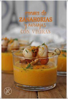 Crema de zanahorias y naranja con vieiras {by Paula, Con las Zarpas en la Masa}
