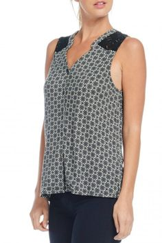 Patterned tank with lace detailing. Patterned Tank by Skies Are Blue. Clothing - Tops - Tees & Tanks Texas