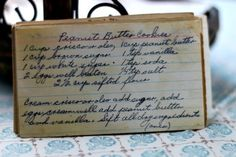 Vintage recipe for Peanut Butter Cookies