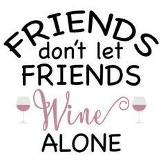 Silhouette Design Store: friends and wine phrase