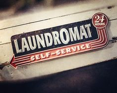 Retro laundry room decor realized in a vintage 24 hour laundromat photographic print. measures 8 x Laundry room art offers a bit of nostalgia to your home decor. Rustic Laundry Rooms, Laundry Room Wall Decor, Basement Laundry, Laundry Room Signs, Room Decor, Laundry Art, Smelly Laundry, Laundry Hacks, Laundry Room Pictures