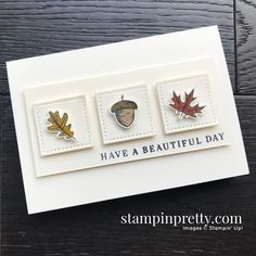 Create this card using the Beautiful Autumn Bundle from Stampin\' Up! Note card created by Mary Fish, Stampin\' Pretty