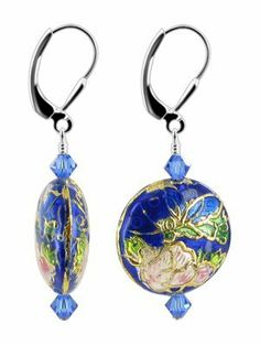SCER412 Sterling Silver Blue Crystal Cloisonne Bead Earrings Made with Swarovski Elements Gem Avenue,
