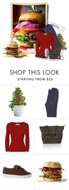 """""""Food Challenge 12 - Burger"""" by miradawnp ❤ liked on Polyvore featuring Potting Shed Creations, McGuire Denim, Valentino, Franco Sarto and Michael Kors"""