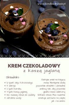 Przepis na wegański krem czekoladowy z daktylami, kaszą jaglaną i karobem. #vegan #healthyfood #chocolatemousse