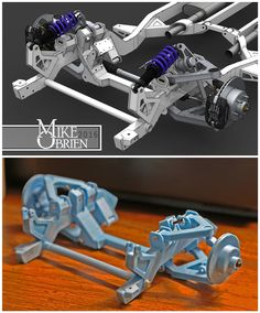 Why on earth have I waited this long to get a printer? I am completely addicted. Time to make working scale models of everything I have… Cantilever Suspension, Suspension Design, Miniatur Motor, Lowrider Model Cars, Rc Drift, Space Frame, Bike Engine, Plastic Model Cars, 3d Prints