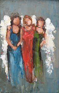 "Heavenly Friends by Judy Mackey Oil ~ 9"" x 6"" inches"