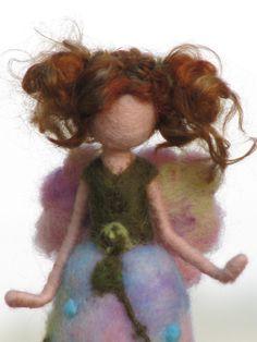 *NEEDLE FELTED ART ~ Waldorf inspired needle felted garden fairy. 55.00 dollars, via Etsy.