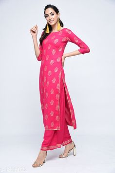 Dupatta Sets Women's Printed Rayon Kurta with Palazzos Fabric: Kurti - Rayon, Palazzo - Rayon Sleeves: Sleeves Are Included Size: Kurti - M - 38 in, L - 40 in, XL - 42 in, XXL - 44 in, Palazzo -  M - 30 in, L - 32 in, XL - 34 in, XXL - 36 in Length: Kurti - Up To 50 in, Palazzo - Up To 38 in Type: Stitched Description: It Has 1 Piece of Kurti & 1 Piece Of Palazzo  Work : Kurti - Printed , Palazzo - Gotta Patti Sizes Available: M, L, XL, XXL   Catalog Rating: ★3.9 (385)  Catalog Name: Women Rayon Printed Short Kurti With Palazzos CatalogID_249786 C74-SC1853 Code: 625-1895022-8751