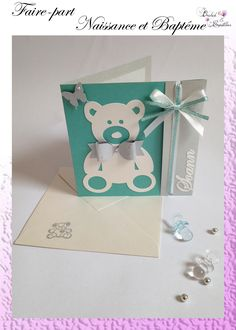 Announcements BAPTISM / BIRTH Theme: Bear cub and Butterfly. Colors: Water green and silver gray. Bear Cubs, Announcement, Birthday Cards, Place Card Holders, Homemade, Butterfly Colors, Green Theme, Diy, Scrapbooking